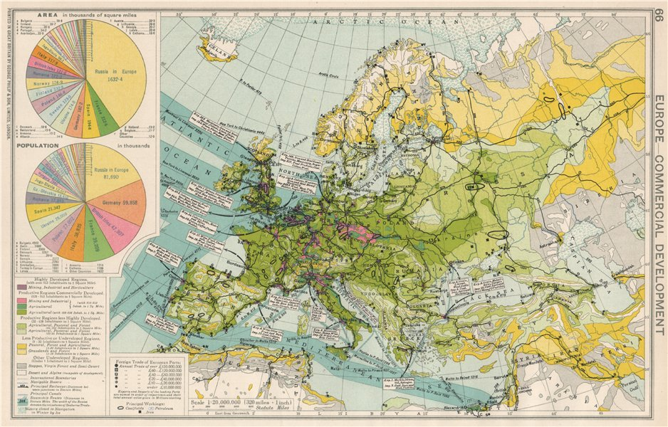 Associate Product Europe. Commercial Development. Import/Export routes. Industrial areas 1925 map
