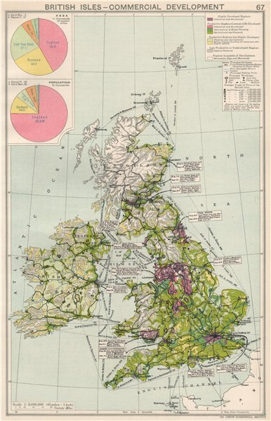 Associate Product British Isles. Commercial Development. Import & export routes. Industry 1925 map