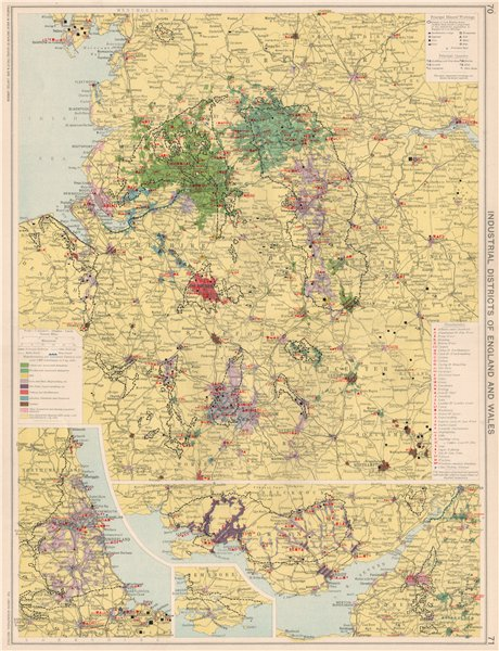 England & Wales Industrial Districts. Manufacturing production types 1925 map