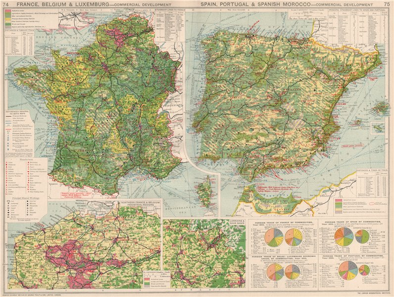 Map Of Northern Spain And Portugal.Details About France Belgium Spain Portugal Commercial Development Manufacturing 1925 Map