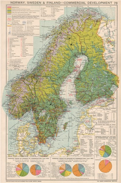 Associate Product Norway, Sweden & Finland. Commercial Development. Industrial production 1925 map