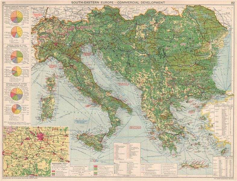 Associate Product Italy/South-Eastern Europe. Commercial. Manufacturing minerals & mining 1925 map