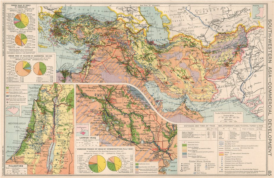 Associate Product Middle East/SW Asia. Commercial. Mining & Agricultural production 1925 old map