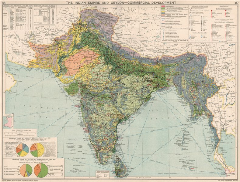 Associate Product British India. Commercial Manufacturing Mining Minerals Agricultural 1925 map
