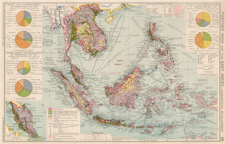 Associate Product Indochina & East Indies. Commercial Mining Minerals Agricultural 1925 old map