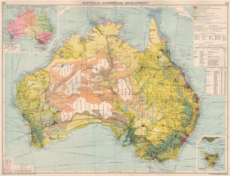 Associate Product Australia. Commercial. Agruicultural Minerals Mining Railway Gauges 1925 map