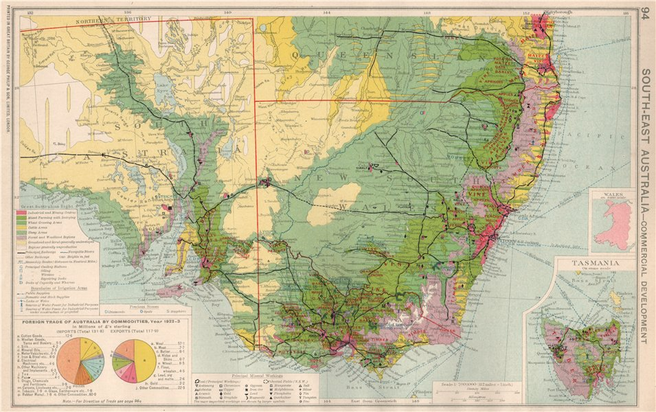 Associate Product SE Australia. NSW Victoria Commercial. Agricultural & minerals mining 1925 map