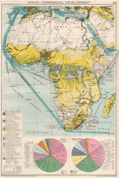 Associate Product Africa. Commercial Development. Import & export routes. Mining 1925 old map