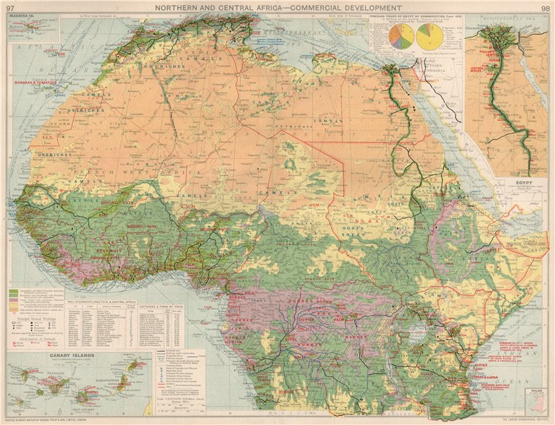 Associate Product Northern & Central Africa. Commercial. Agricultural products & minerals 1925 map