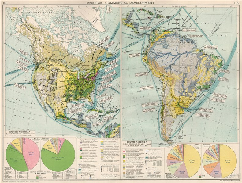 Associate Product North & South America. Commercial Development. Import & export routes 1925 map