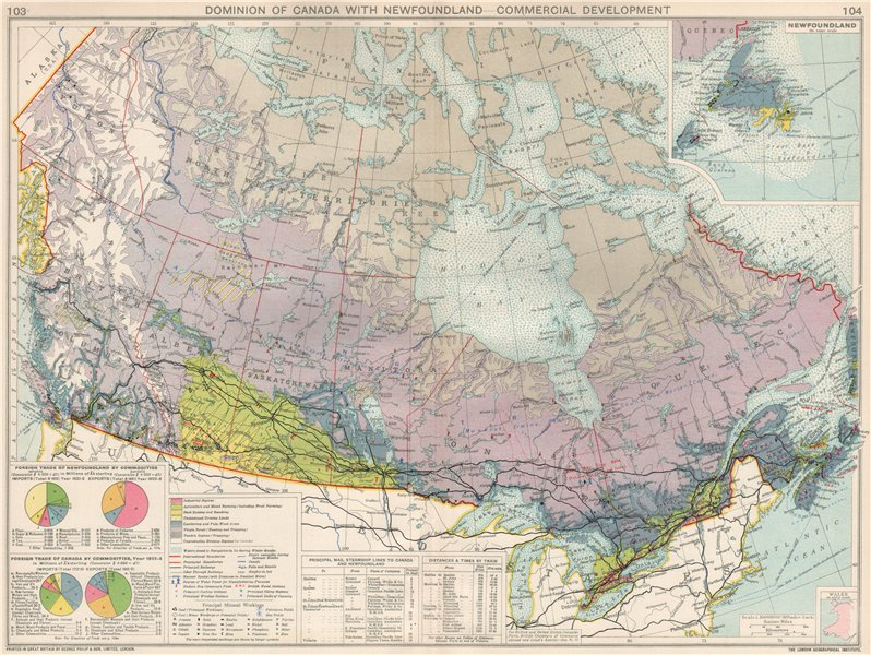 Associate Product Canada. Commercial Development. Agricultural products farming mining 1925 map