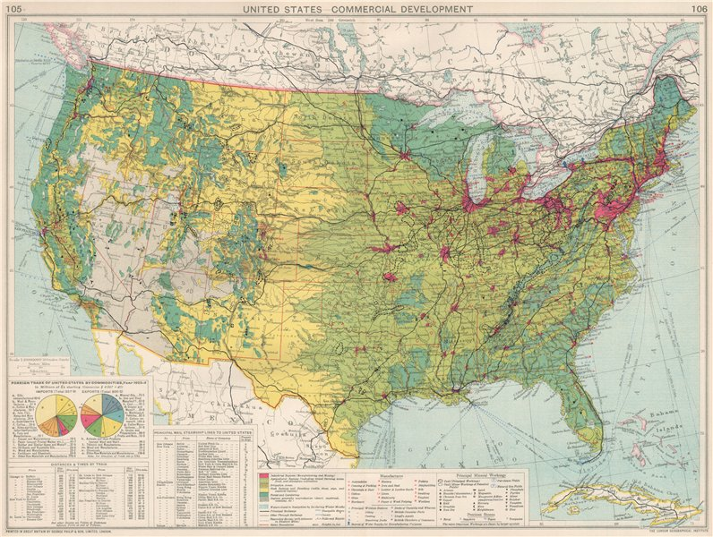 Associate Product United States. Commercial Development Industrial manufacturing farmland 1925 map