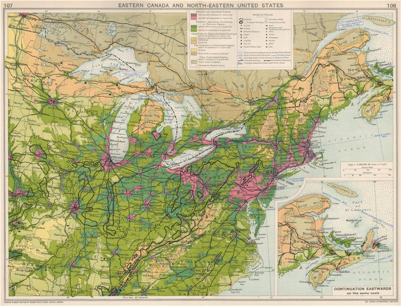 Associate Product Eastern Canada & NE United States. Metals & minerals mining. Resources 1925 map