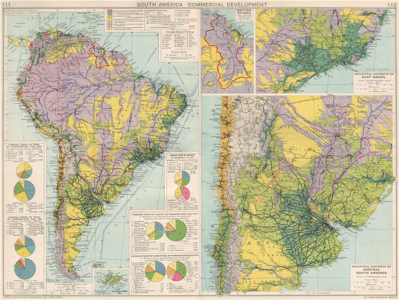 Associate Product South America. Commercial/Industrial Development. Agricultural products 1925 map