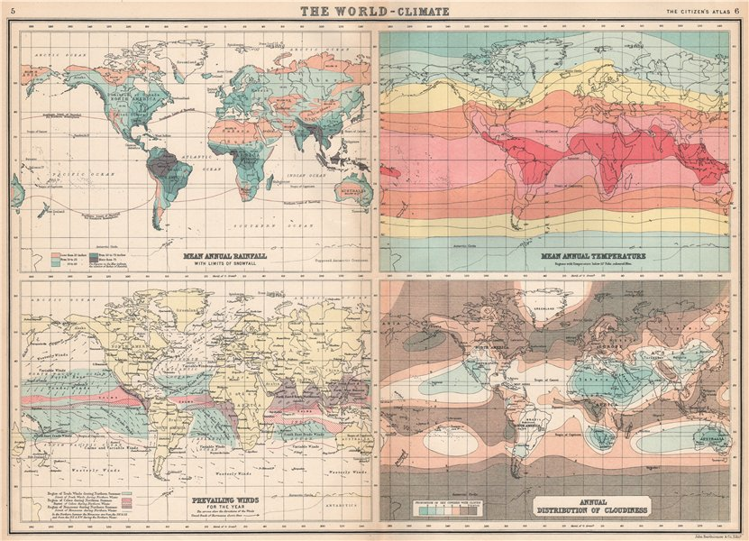 Associate Product WORLD CLIMATE. Rainfall Temperature Winds Cloudiness. BARTHOLOMEW 1912 old map