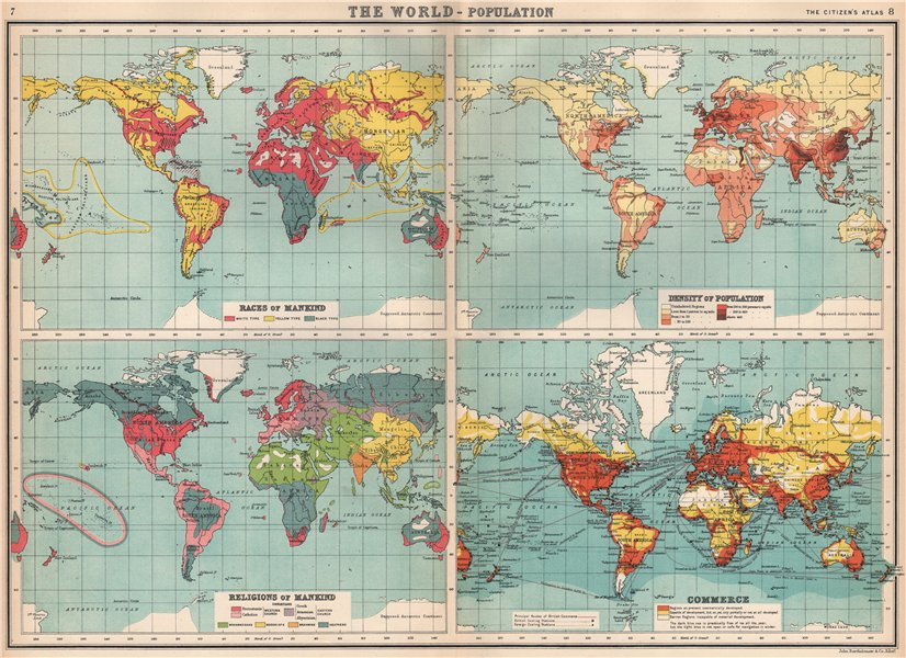 Associate Product WORLD POPULATION. Races Density Religions Commerce coaling stations 1912 map