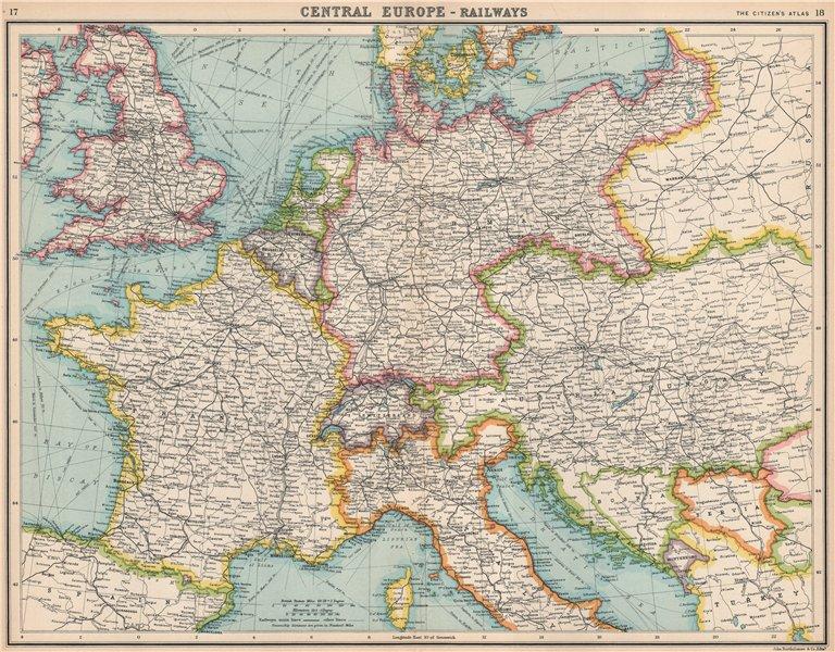 Associate Product EUROPE & BRITISH ISLES Steamer routes & railways. BARTHOLOMEW 1912 old map