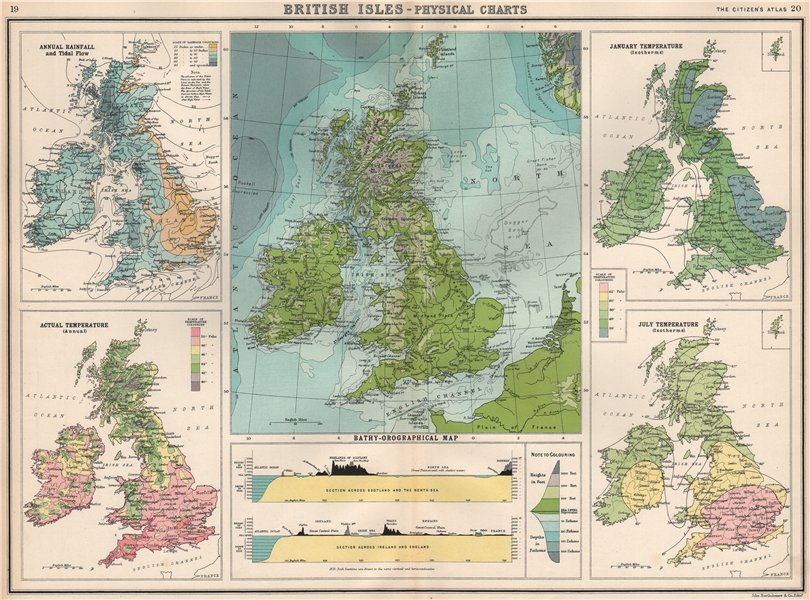Associate Product BRITISH ISLES PHYSICAL. Rainfall Tidal Flow Temperature W-E Sections 1912 map
