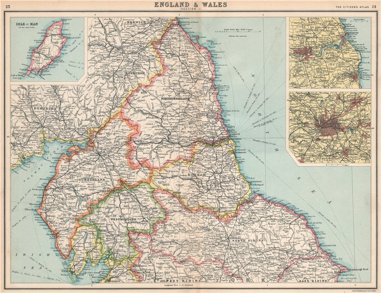 ENGLAND NORTH. Cumbs Northumbs Durham Westm Yorks Newcastle Manchester 1912 map