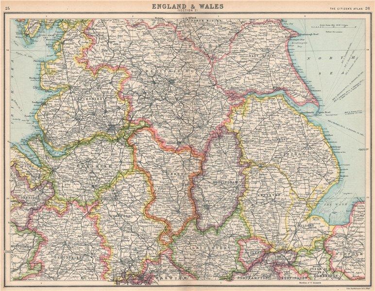 Associate Product ENGLAND NORTH. Lancashire Yorkshire Lincs Notts Derbys Cheshire Staffs 1912 map