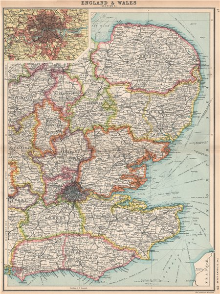 Map Of England East Anglia.Details About England East Home Counties East Anglia Inset London Bartholomew 1912 Map