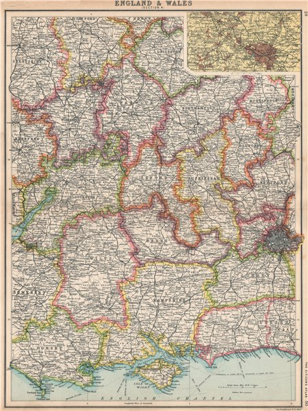 Associate Product ENGLAND SOUTH. Thames Valley Midlands S Coast Cotswolds. Birmingham 1912 map