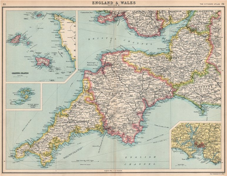 SOUTH WEST ENGLAND.Devon Cornwall Somerset Dorset.Channel Is.Plymouth 1912 map