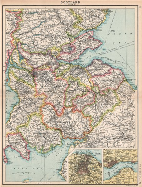 Associate Product SCOTLAND SE. Borders Dumfries/Galloway Fife Lanark. Edinburgh, Dundee 1912 map