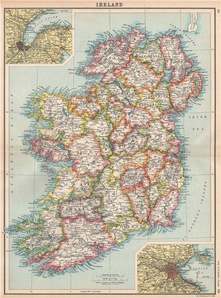 IRELAND. Showing counties & railways. Inset Belfast & Cork. BARTHOLOMEW 1912 map