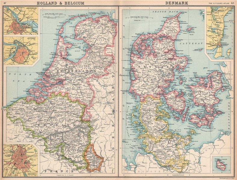 Associate Product BENELUX/DENMARK.Holland Belgium Schleswig-Holstein.Copenhagen Bornholm 1912 map
