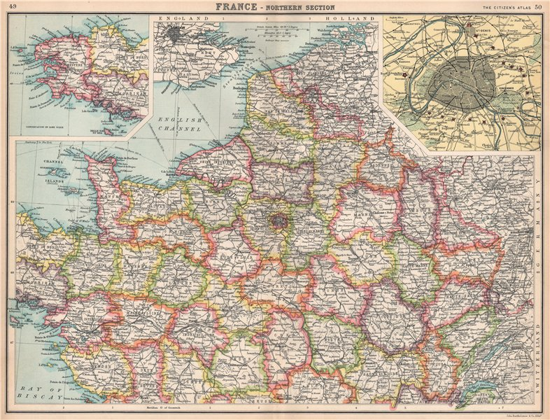 Associate Product NORTHERN FRANCE.Departements.Paris showing fortifications.BARTHOLOMEW 1912 map