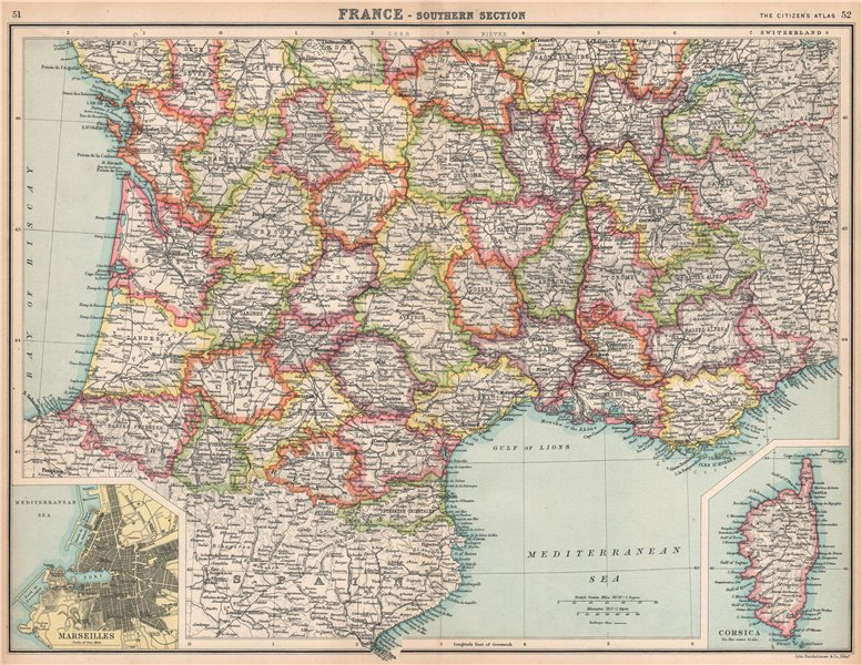 Associate Product FRANCE SOUTH.Showing departements.Inset Marseilles.Corsica.BARTHOLOMEW 1912 map