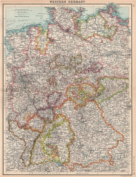 Associate Product WESTERN GERMANY. Showing states. Brandenburg Hanover Westphalia Bavaria 1912 map