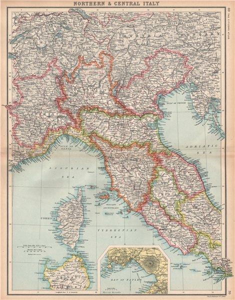 Associate Product NORTHERN ITALY. Showing railways. Inset Bay of Naples. BARTHOLOMEW 1912 map