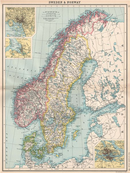 Associate Product SCANDINAVIA Sweden Norway & Denmark. Inset Christiania Oslo Stockholm 1912 map