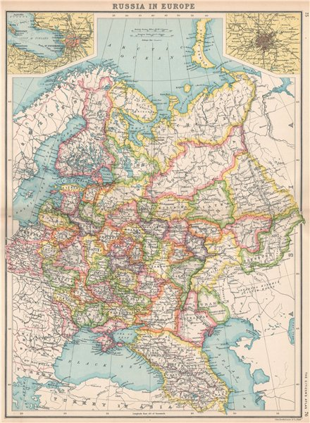 Associate Product RUSSIA IN EUROPE.Caucasia Livonia Courland.St.Petersburg;Moscow Москва 1912 map