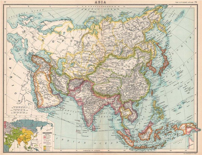 Associate Product ASIA POLITICAL & RELIGIOUS. Abbu Thubbi (Abu Dhabi). China Persia Annam 1912 map