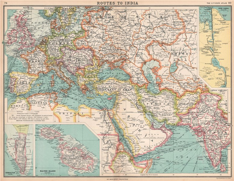 Associate Product ROUTES TO INDIA Europe Middle East & Asia. Suez Canal Gibraltar & Malta 1912 map