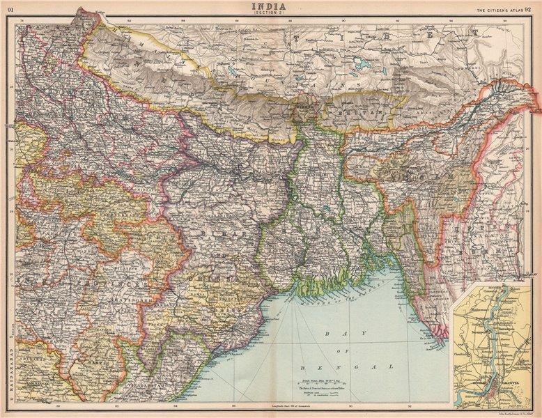 Associate Product BRITISH INDIA NORTH EAST. Bengal Assam Nepal Bhutan Orissa. Calcutta 1912 map