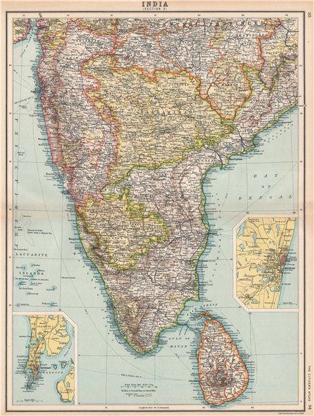 Associate Product SOUTH BRITISH INDIA CEYLON SRI LANKA. Madras Chennai & Bombay Mumbai 1912 map