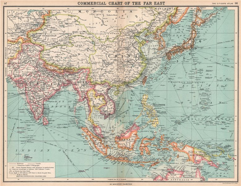 Associate Product ASIA/EAST INDIES British India Siam French Indochina 1912 old antique map