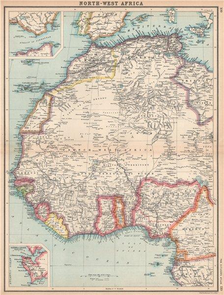 Associate Product FRENCH WEST AFRICA Nigeria Gold Coast Rio de Oro Portuguese Guinea 1912 map