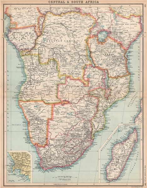 SOUTHERN AFRICA. Congo British/Portuguese/German East Africa Rhodesia 1912 map