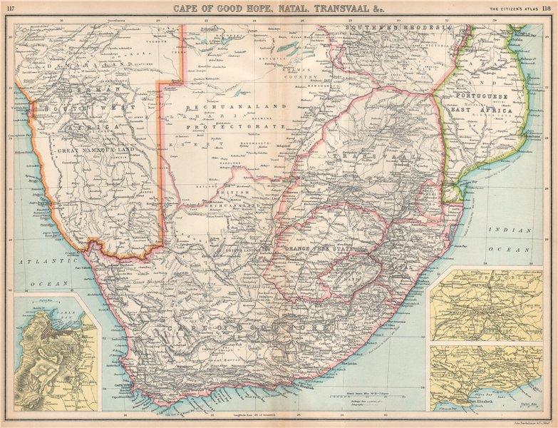 Associate Product SOUTH AFRICA. Natal Bechuanaland Orange Free State Transvaal. Cape Town 1912 map