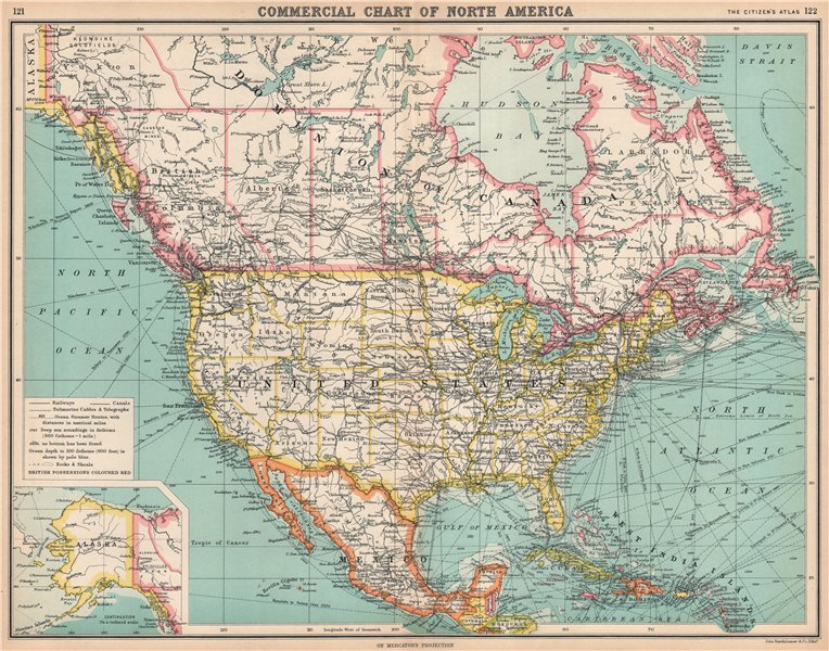 Associate Product NORTH AMERICA COMMERCIAL.Steamer routes Telegraph cables Railways Canal 1912 map
