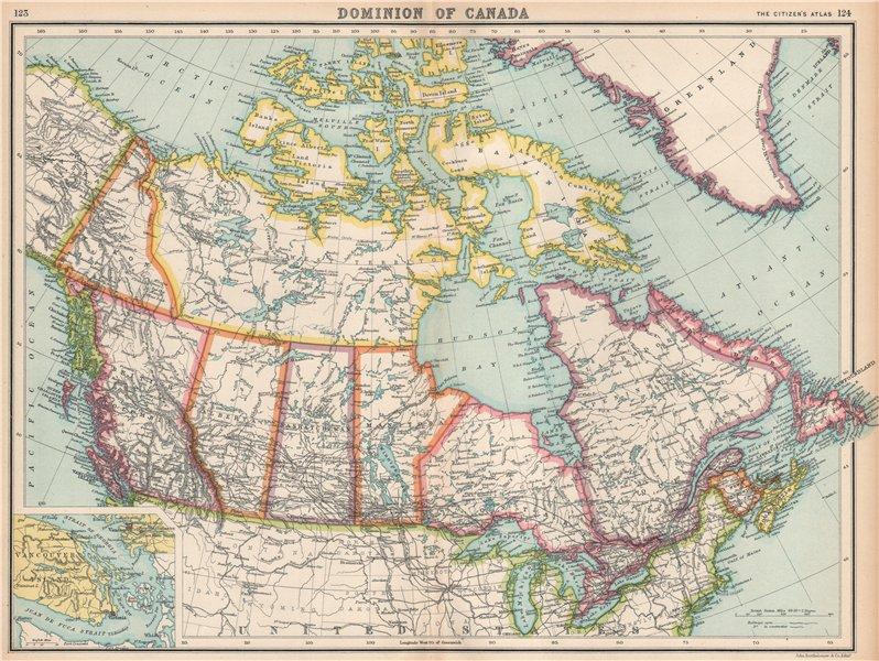 Associate Product CANADA provinces & railroads. Inset Vancouver environs. BARTHOLOMEW 1912 map