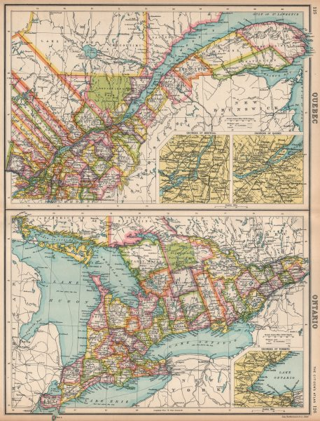 Associate Product QUEBEC QUÉBEC & ONTARIO. Divisions & counties. Inset Montreal Toronto 1912 map
