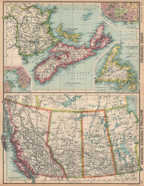 Associate Product CANADA WESTERN & MARITIME PROVINCES. Inset St. John & Halifax 1912 old map