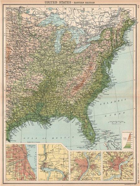 Associate Product USA EAST. Relief. Inset Chicago Niagara Falls Saint Louis Philadelphia 1912 map
