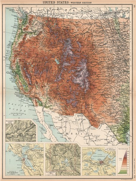 Associate Product ROCKY MOUNTAINS. USA West. Yosemite San Francisco Yellowstone 1912 old map